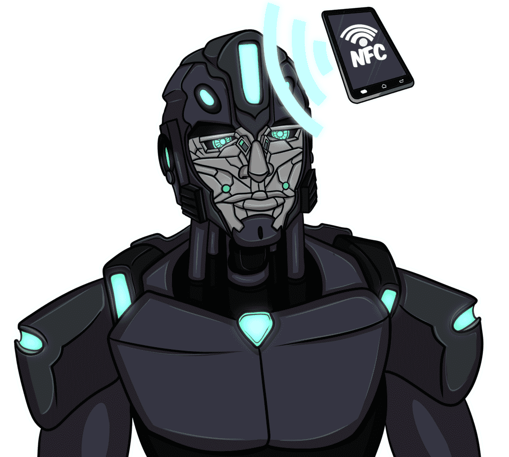 robot-interacts-with-smartphone-via-nfc